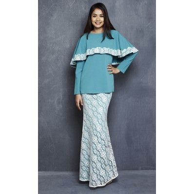 Linda Modern Kurung with Lace Cape in Turquoise