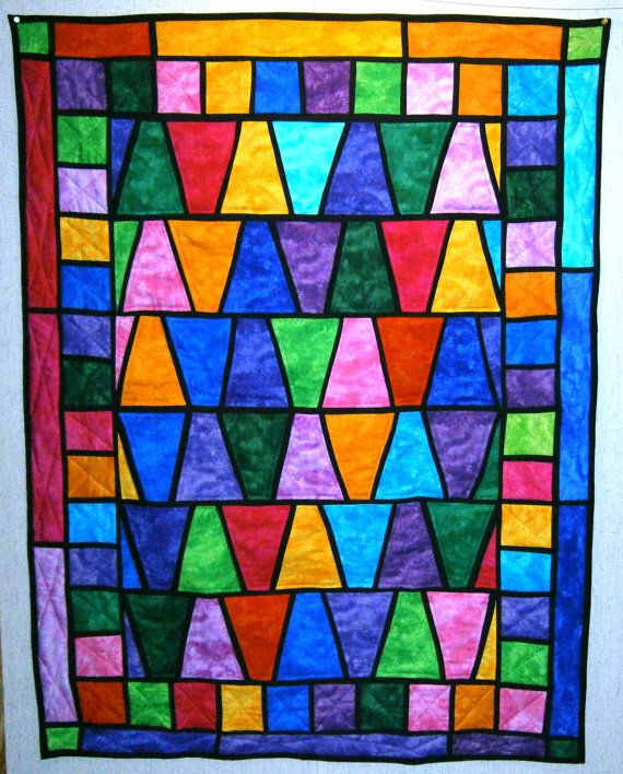 Stained Glass Wonder Quilt 40 in W x 52 in by MadewithLovebyDeena, $90.00