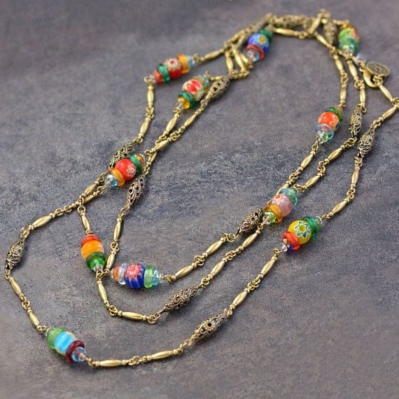 Millefiori Glass Jewelry Colorful Jewelry N1491 Boho Necklace Long Necklace Long Millefiori Beads Chain Necklace Beaded Necklace