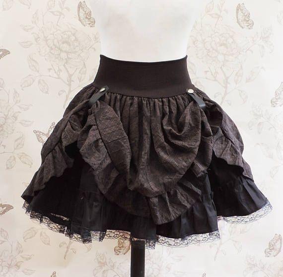 Steampunk rok, asymmetrische rok, lace drukte rok, steampunk kleding, piraat, salon, Victoriaanse, kostuum, bronzen gespen