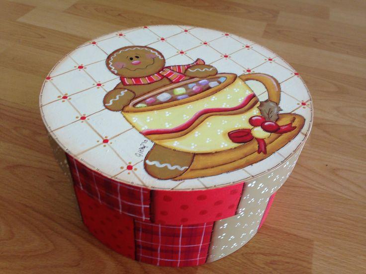caja redonda galleta de jengibre navidad christmas