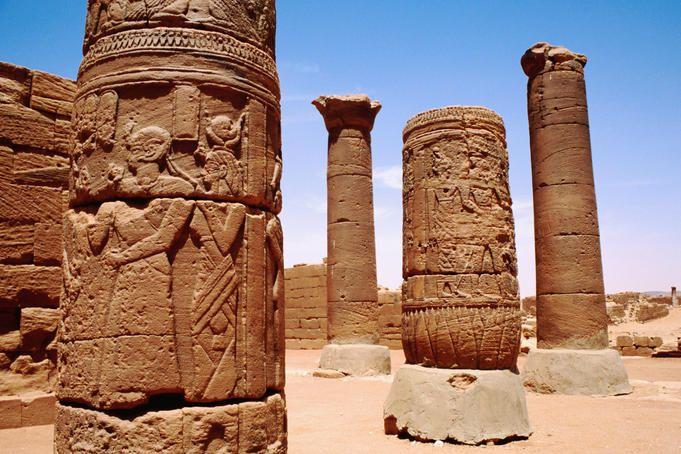 Ornate columns in the Great Enclosure, Ancient Meroe Site, Musawarat north of Khartoum, Sudan.