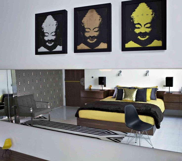 Yellow bedroom, Luna2 private hotel, Bali. Interior design by Melanie Hall. #interiordesign #popart #melaniehalldesign