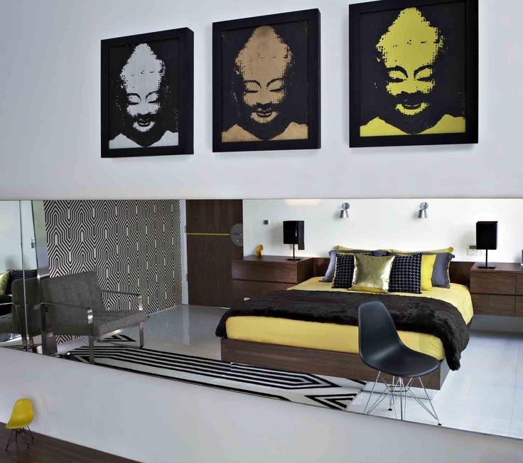 Yellow bedroom, Luna2 private hotel, Bali. Interior design by Melanie Hall. #interiordesign #popart #melaniehalldesign