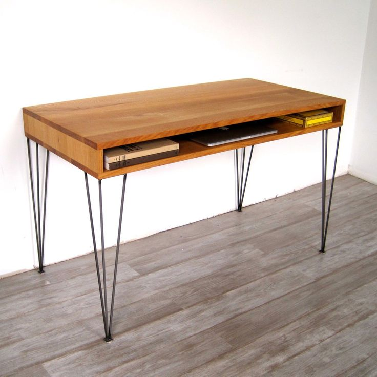 Mid-Century Desk - minimalist, architectural character, hairpin legs, white  oak foundation, and a little storage.