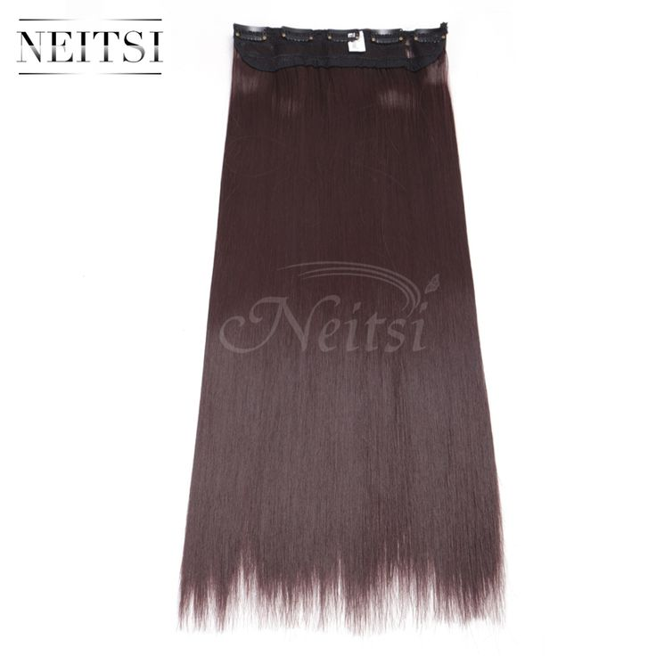 "Neitsi 22"" 99J# 5Clips Synthetic Clip In On Fake Hair Weft Extensions Straight Long Braiding Hairpieces For Women Fast Shipping"