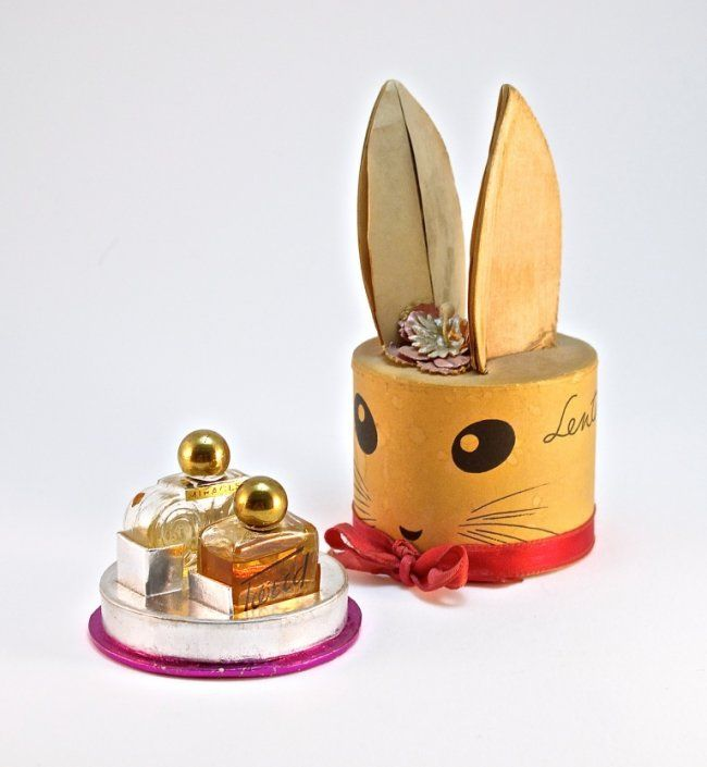 * PERFUME BUNNY 1940s Lentheric mini Tweed and Miracle perfume bottles, clear glass, metal screw caps, paper and printed labels, figural box ULTRO GOTHE