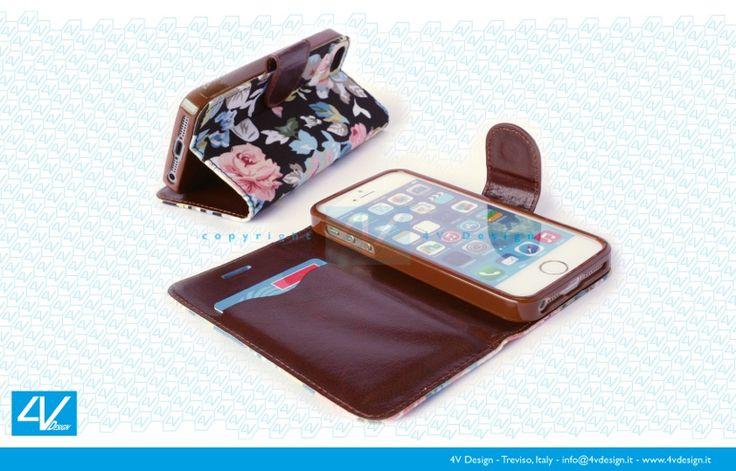 Custodia Trendy flower per iPhone 5-5S con pratico portatessere e supporto da tavolo