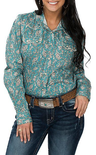 a078e589a665eb Cowgirl Legend Women's Turquoise Paisley Western Snap Shirt   Horse ...