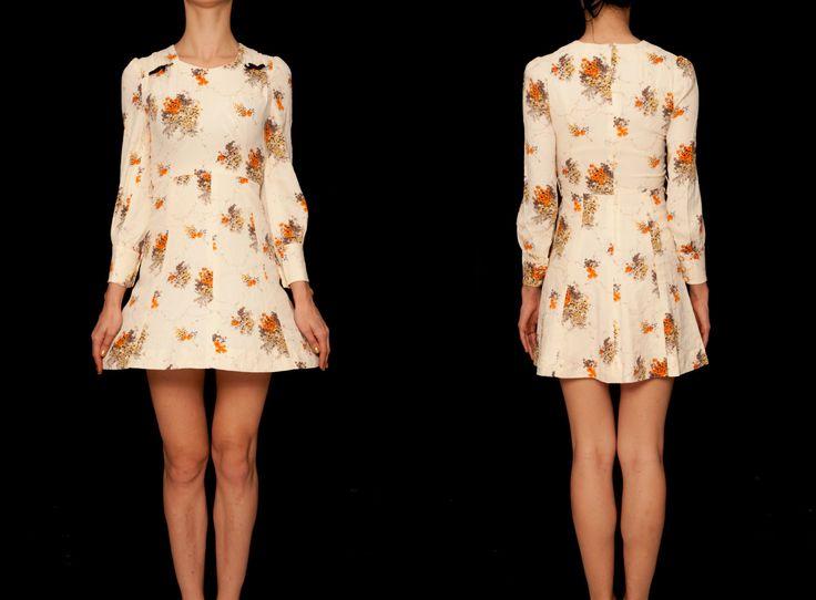 1970's japanese beige floral vintage dress, midi dress,cotton dress,beige dress,long sleeve dress,spring summer dress, tea dress, sundress by VintageCosmopolitan on Etsy https://www.etsy.com/listing/221950645/1970s-japanese-beige-floral-vintage