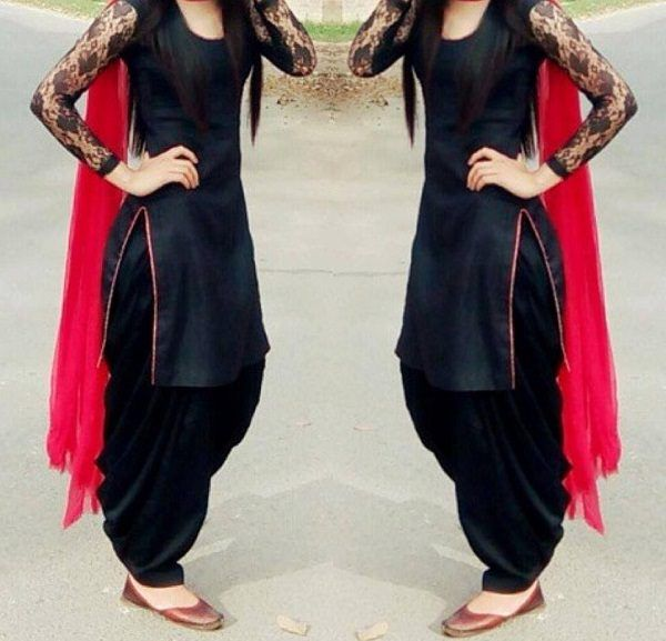 Black Cotton Patiala Unstitch Salwar Suit With Net Sleeve