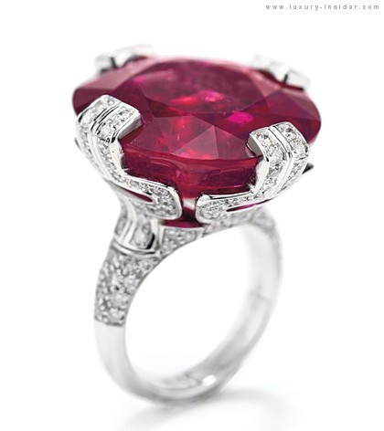Bulgari Charity Auction at Christie's -  parentesi cocktail ring - large rubellite