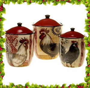 Certified International Fancy Rooster 3-Piece Canister Set This Rooster 3-Piece Canister Set, has been designed by Kimberly Poloson. It is lead free and a great gift for the country kitchen. http://theceramicchefknives.com/ceramic-canister-sets-beautiful-long-lasting-gifts/