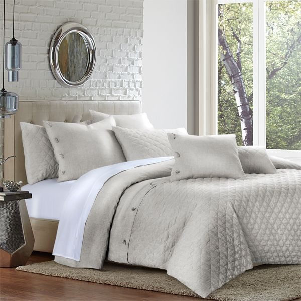 This Neutral Duvet Cover Set By Michael Amini Is Available In King And Queen Sizes Bed Luxury Bedding Neutral Bed Linen