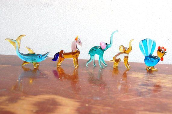 Vintage 1950s Murano Art Hand Blown Glass Animal Figurines (set of 5)