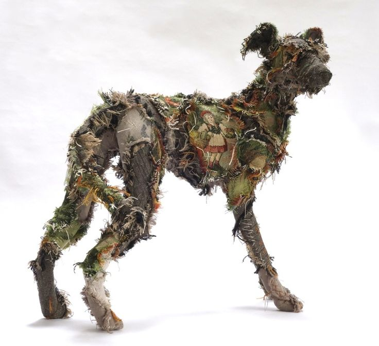 Shaggy Dog Tale textile sculpture by Barbara Franc