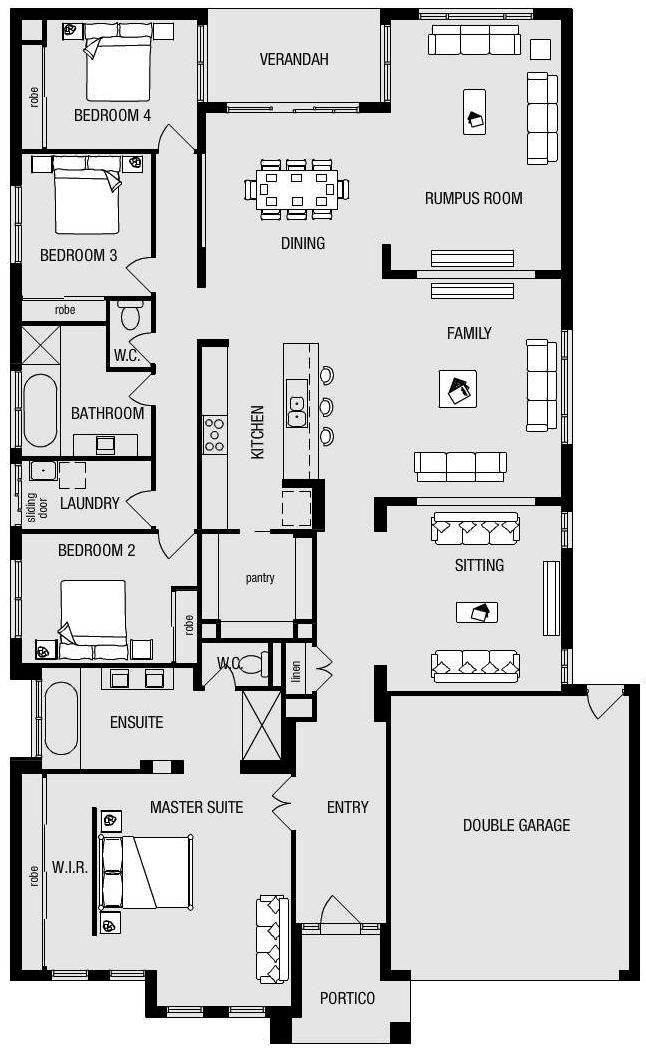 Metricon - Fairhaven 33 House Length: 23.87m House Width: 14.51m