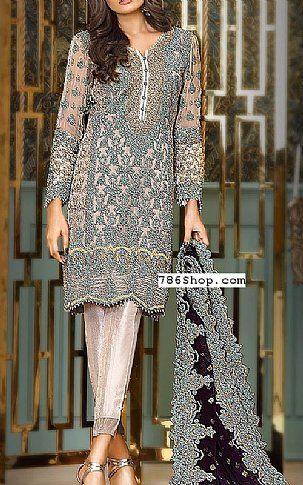 Grey/Black Chiffon Suit | Buy Asim Jofa Pakistani Dresses and Clothing online in USA, UK