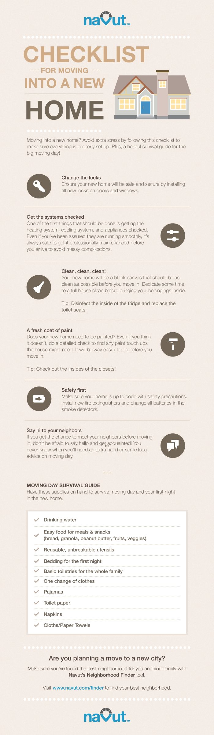 Infographic: A checklist for when you move into your new home | Navut Blog