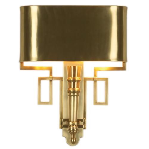 Brass Wall Sconce With Switch : Available as a hardwired or plug-in sconce Shade Dimensions: 13.5
