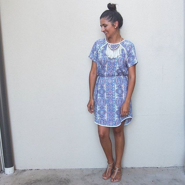 Messy bun it was today because it was way too hot for hair down. Wearing @surafina Le Boheme Shift Dress || @misanoshoes Shizu Sandals || @whattheteacherwears Necklace from my online store ||