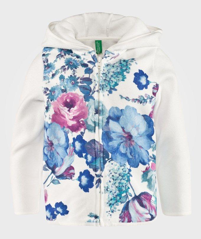 Blommig Fleece Hoodie Naturvit