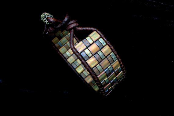 Innovative  use of tila and half tila beads.  Leather Single Wrap with Matte Metallic Tila and Half by beadbound,