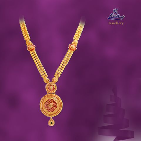 LALITHAA_JEWELLERY Floral pattern pendant with golden beads of long haram from #lalithaajewellery.