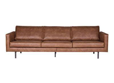 Sofá vintage cuero marrón claro 3 plazas ASPEN - cuero reconstituido  -