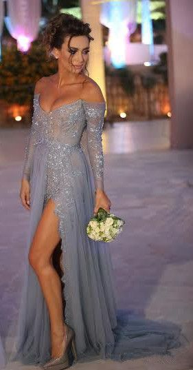Sexy Long Evening Dress, 2015 Bridesmaid Dresses, Prom Dress 2015. http://sweetheartdress.storenvy.com/products/14052915-sexy-beaded-tulle-left-slit-a-line-long-sleeves-floor-length-evening-dress