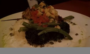 Mahi Mahi Encrusted with Phylo dough and topped with a mango salsa (Opal restaurant in Santa Barbra, Ca)