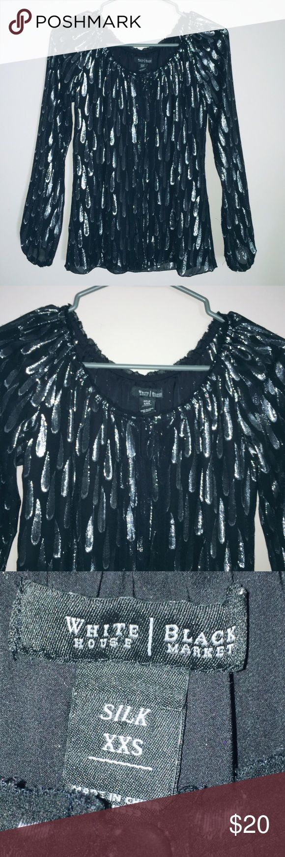 WHBM metallic blouse •excellent condition •White House Black Market •long sleeved •metallic detail •silk •arms are semi sheer •size xxs, could also fit xs White House Black Market Tops Blouses