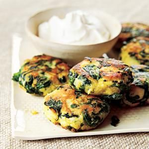 Spinach-Potato Fritters |  MyRecipes.com Enjoy the flavorful blend of spinach, potatoes, and eggs in these breakfast fritters.