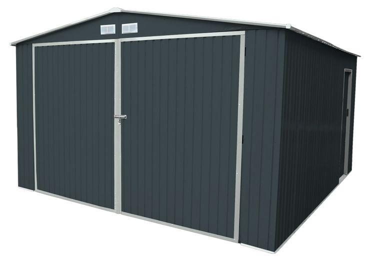 Garage en métal gris 20 m2 + kit d'ancrage inclus