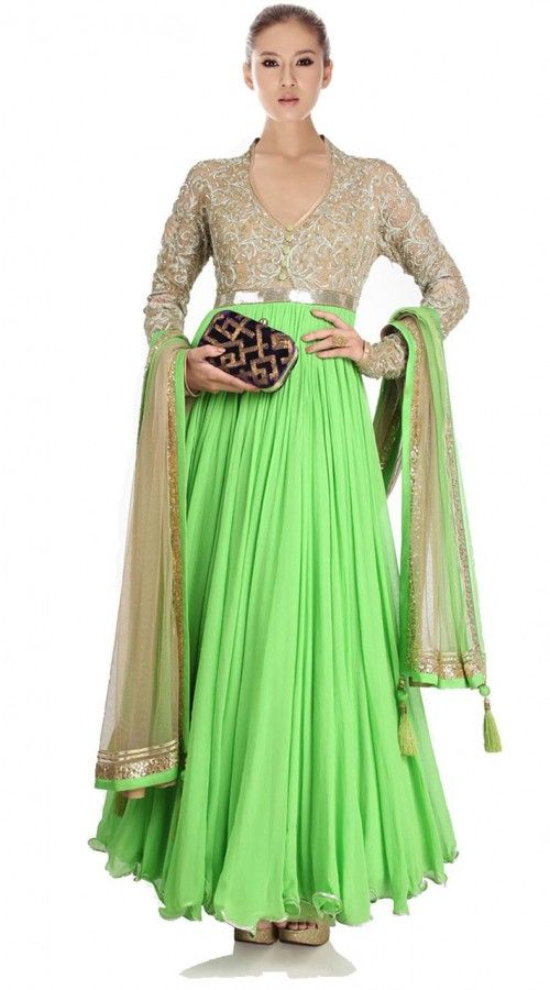 Lemon Green Net And Georgette Ankle Length Anarkali Suit SU4901