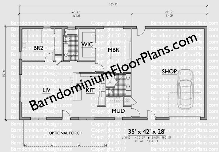 2 Bedroom 2 Bath Barndominium Floor Plan For 35 Foot Wide Building With A 35 X 28 Shop Area