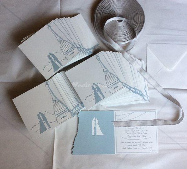 Partecipazione tema città Torino Sposi  Wedding invitation town theme @Gli Acquerelli di Loredana