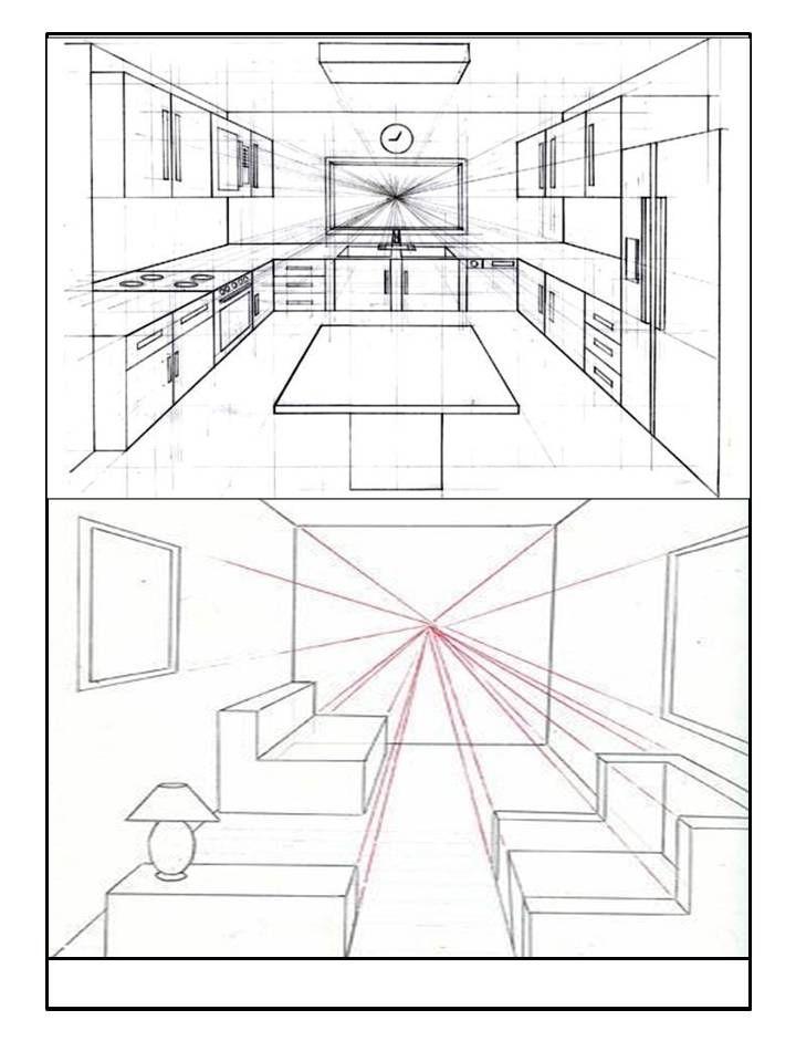 Dibujo De Espacios Perspectiva 1 Un Punto De Fuga Punto De Fuga Perspectiva De Un Punto Dibujo Arquitectonico De Interiores