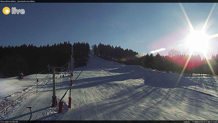 Snímek z kamery na lyžařské sjezdovce v Karolince
