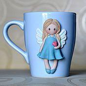 """Посуда ручной работы. Ярмарка Мастеров - ручная работа Кружка в подарок """"Нежный Ангел"""" с декором из полимерной глины. Handmade."""
