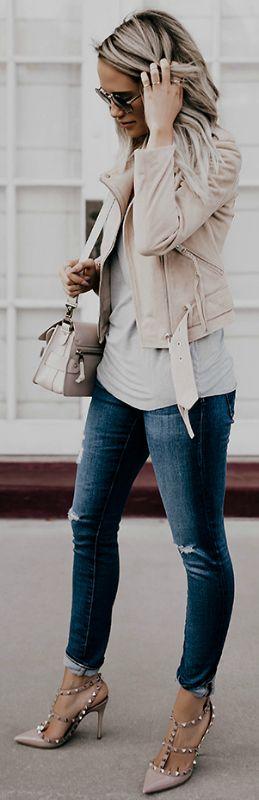 Megan Anderson + skinny denim jeans + blush pink leather jacket + mini bag + studded pink heels + casual but stylish look Jacket: All Saints, Shirt: Paige, Denim: AG, Shoes: Valentino, Bag: Proenza Schouler, Sunglasses: Prada.