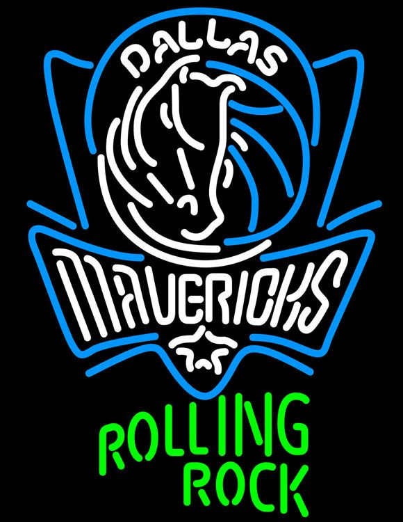 Rolling Rock Dallas Mavericks NBA Neon Beer Sign, Rolling Rock with NBA Neon Signs | Beer with Sports Signs. Makes a great gift. High impact, eye catching, real glass tube neon sign. In stock. Ships in 5 days or less. Brand New Indoor Neon Sign. Neon Tube thickness is 9MM. All Neon Signs have 1 year warranty and 0% breakage guarantee.