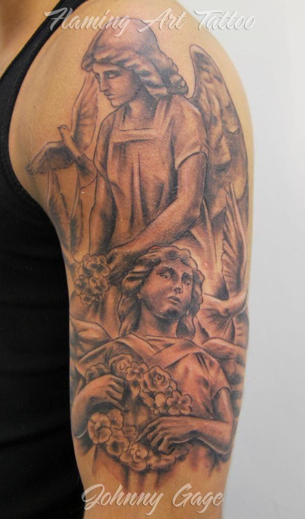 Angel half sleeve tattoo - 60 Holy Angel Tattoo Designs  <3 !