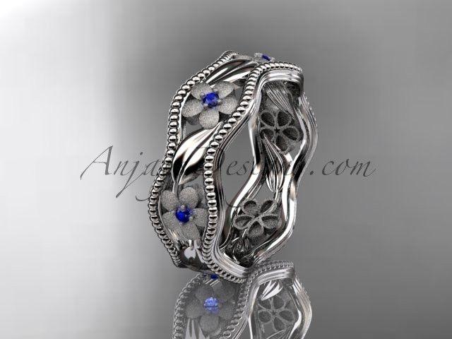 14kt white gold blue sapphires flower wedding ring, engagement ring, wedding band. ADLR190