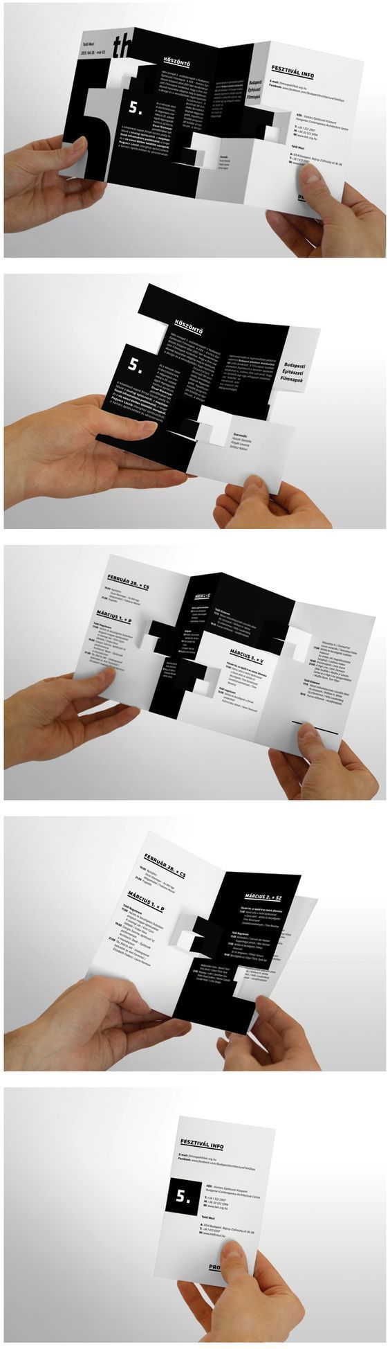 This brochure is a good example on type, alignment and paper structure. The use of type is prominent in this design, but the paper-cutout structure keeps the composition interesting interactive: other pop-out parts help make another part of the composition on another page. The alignment uses justified alignment for the inter-lapping text blocks to mimic the square cut-out shapes. There is strong use of emphasized headlines and numbers with large and bold text.