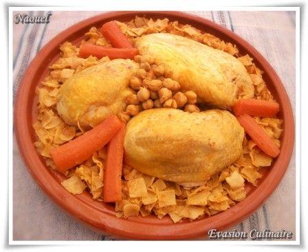 Nwasser au poulet plat tunisien de p tes en sauce rouge - Tastira cuisine tunisienne ...