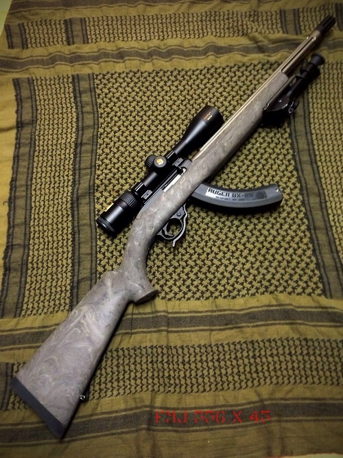 Custom Ruger 10/22 rifle. I've shot that and it is amazing to shoot:)