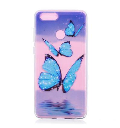 Coque Huawei Honor 7X Trois papillons bleus qui scintillent.