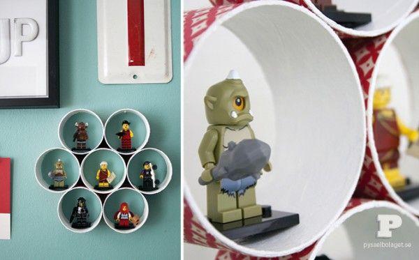 Rangement mural pour les LEGO fabriqué avec tubes en carton