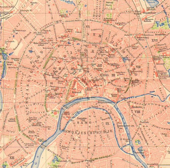 1903 City Map of Moscow, Russia